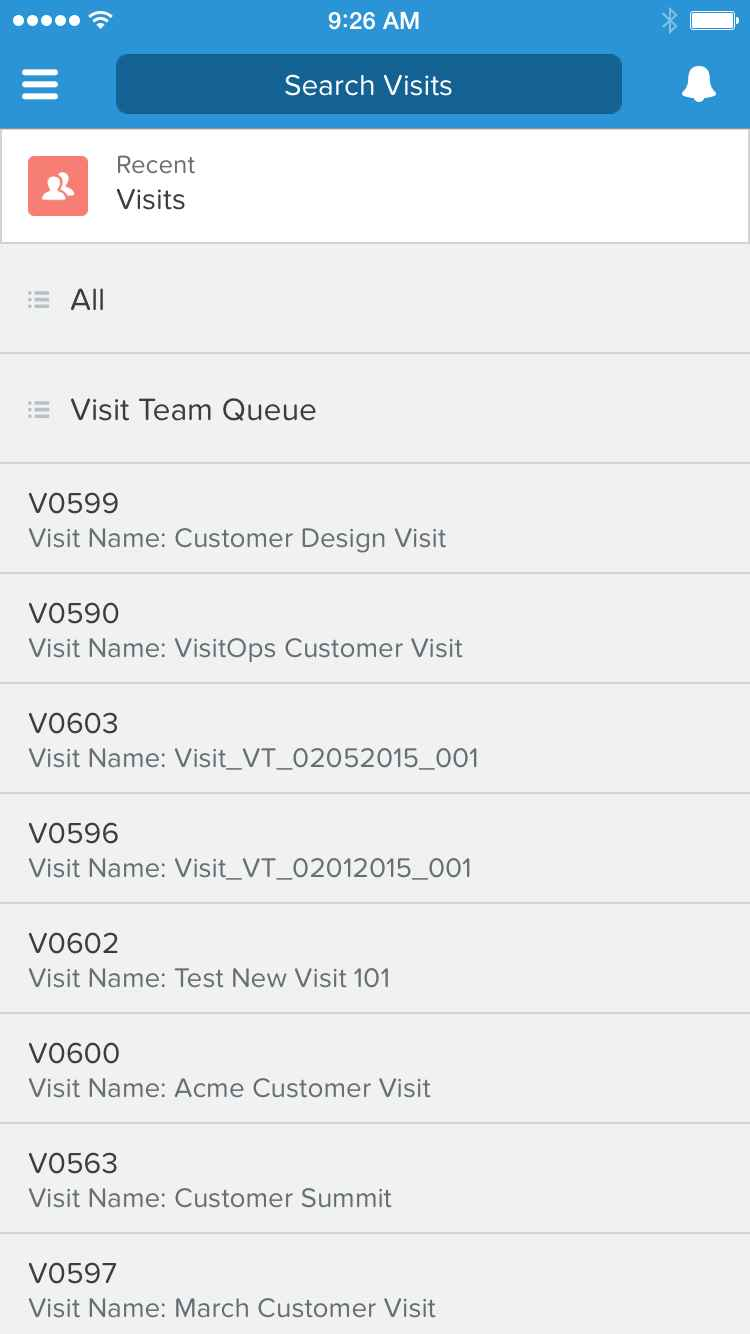 A screenshot of the VisitOps mobile interface, where you see a search box above a list of visits.