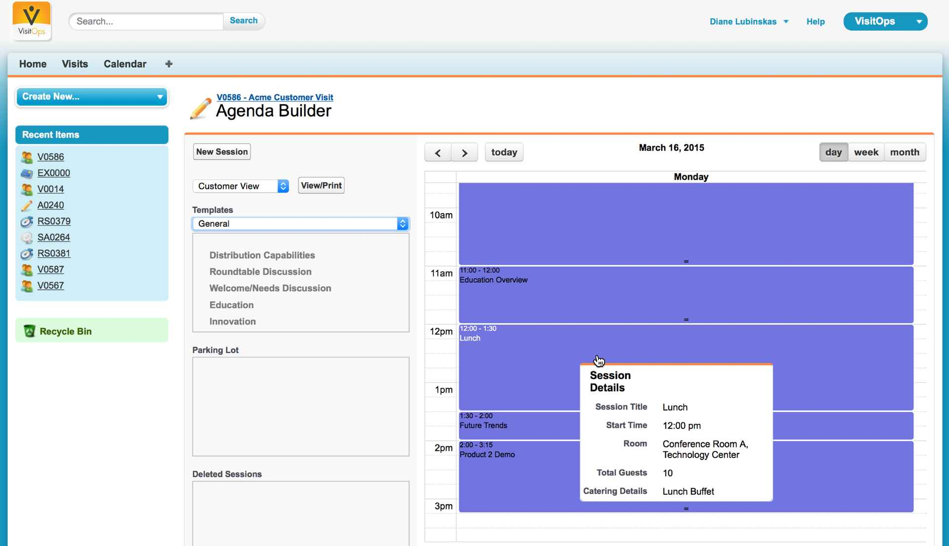 The VisitOps Agenda Builder interface, where you can create and organize event sessions.