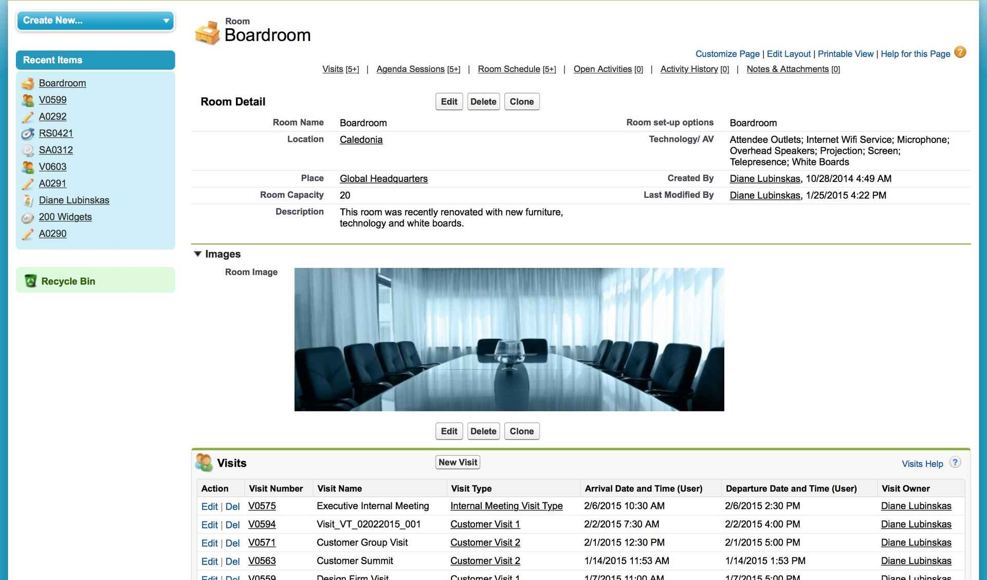 A room detail page in the VisitOps app, where you can see its history, schedule, capacity, and more.